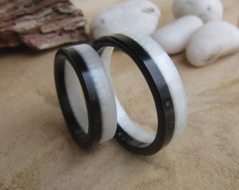 black and white ring, mens ring, geometric ring, handmade ring resin, modern ring, resin ring, man ring, black and white ring for man, bands