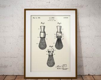 Shaving Brush Patent Print, Shaving Brush 1924 Patent, Vintage Shaving Brush, Barbers Patent Art, Barber Decor, Barber Wall Art, Barber Shop