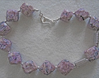 Lilac Charoite Chunky Nugget & Sterling Silver Necklace