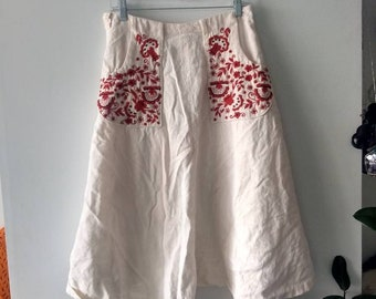 Vintage Red embroidered wrap skirt