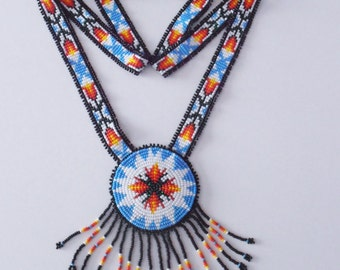 Seed Beaded Necklace, Native American Inspired Beaded Medallion, Seed Beaded Rosette Necklace, Flower Rosette Necklace, Beaded Neckstrap