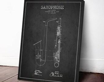 1899 Saxophone Patent, Saxophone Print, Saxophone Canvas Print, Saxophone Poster, Wall Art, Home Decor, Gift Idea, MUIN14C