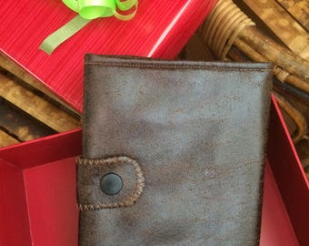 Wallets men faux leather Brown aged look, men's wallet three components, Brown wallet, leather wallet