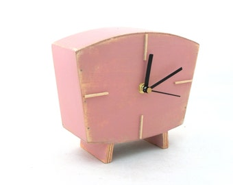 Table clock Pink , Dusty pink Handmade Wood Desk clock, Vintage Style, Unique home decor, Wedding Birthday gift, Pink decor,