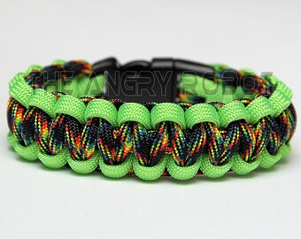 SLIM Paracord Survival Bracelet Cobra - Neon Lime and Galaxy
