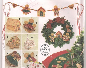 No Sew Tree Topper Christmas Decorations Simplicity 5891 Angel Tree Topper Tree Skirt Ginger Girl Boy Swag Gingerbread House Craft Pattern