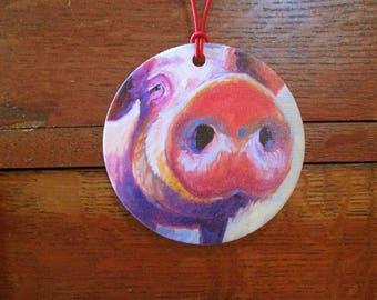 Pig Canvas Ornament - Holiday Ornament