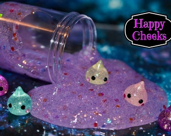 Happy Cheeks Glitter Slime. Choose Your Scent. Charm Included. Galaxy Goo. Popular Slime. Kawaii. Hoppe Chan. Squishy. ASMR. Sensory.