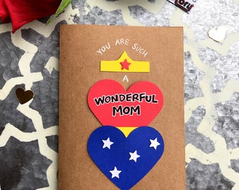 Mother's Day Card, Card for Mom, Wonder Woman