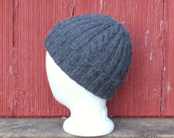 Gray wool watch cap, hand knit warm winter beanie mens, alpaca wool winter cap, wool hat mens wool skull cap, hat gift for him, /ready