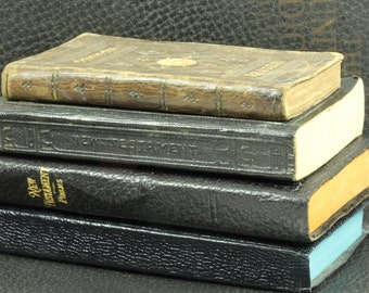 Vintage Pocket-Size New Testament Bible - Black Bible With Blue Page Edges