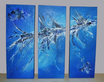 Abstract painting triptych. Abstract triptych. Original abstract acrylic painting. Abstract paintings in acrylic.