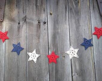 Stars Banners !!!! Crochet -Red -White - Blue