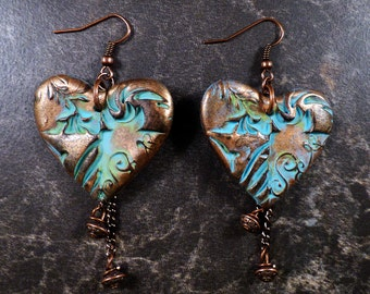 Distressed and weathered heart earrings