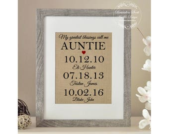Personalized Auntie Gift, Mother's Day Gift for Aunt, My Greatest Blessings Call Me Auntie, From Niece Nephew, Auntie Gift, Aunt Gift