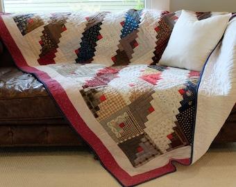 Vintage Log Cabin Handmade Queen Quilt