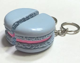 Blue/Pink Macaron Halves Key Chains, Polymer Clay Food Accessories, Best Friends, BFF