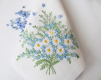 Set of 3 Machine Embroidery Designs - Daisies & Forget-me-nots