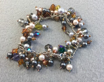 Pagent Perfect Swarovski Pearls and Crystals Charm Bracelet