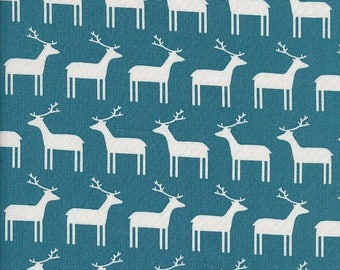 Kids fabric Sevenberry - reindeer Christmas cotton fabric - background blue Duck - by 50cm (110 x)