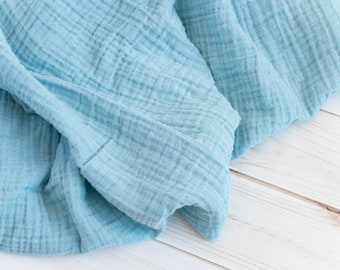 """Muslin Swaddle Blanket in solid ocean blue - made from 100% cotton double gauze - generously sized 45"""" square - baby blanket, baby gift"""