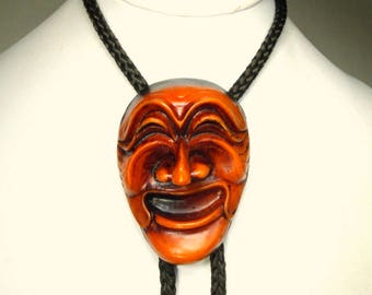 Exotic FACE Bolo Tie, Vintage Laughing Mask String Tie, Pick A or B, Mans Neck Piece,  Braided Cord & Wood Look Tips, Dramatic