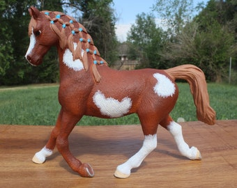 Hand Painted Schleich Arabian Pinto Model Horse Custom OOAK