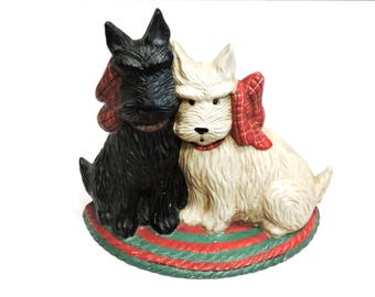 Cast Iron Doorstop, Vintage Scottie/Westie Dog Door Stop or Bookend, Midwest Imports Black n White Terriers, Dog Lover Gift itsyourcountry