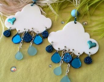 Rain Cloud Earrings, Laser Cut Acrylic, Plastic Jewelry