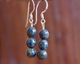 Earrings, Cobalt Blue Glass, Cobalt Beads, Cobalt Blue, Blue and Green, Sterling Silver Shepard Hooks