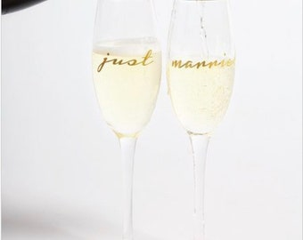 Just Married Champagne Flutes - Just Married - Wedding Gift - Champagne Flutes - Just Married Glasses - Wedding Reception Glass