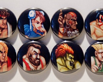 "Set of 8 Street Fighter II 1"" Pinback Buttons"
