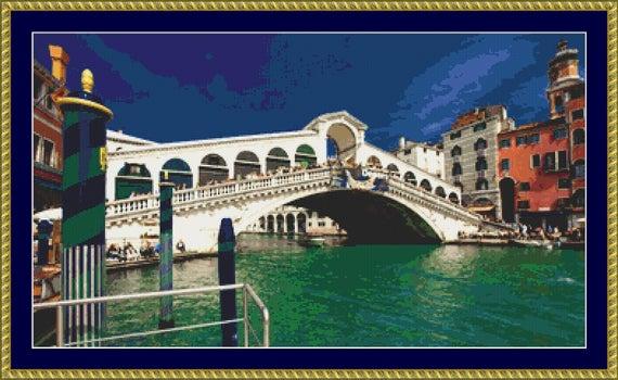Rialto Bridge, Venice Cross Stitch Pattern /Digital PDF Files /Instant downloadable