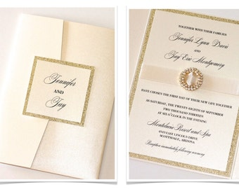 Glitter Wedding Invitation - Elegant Wedding Invitation - Vintage Wedding Invitation - Ivory Gold Glitter - Jennifer Sample