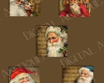 Santa Squares Vintage Images  Printable Digital Download