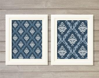 Damask Pattern Printable Wall Art Navy Blue Set of 2 -8x10- Vintage Geometric Instant Download Digital Print Living Room Home Decor