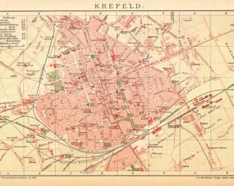 Krefeld city map Etsy