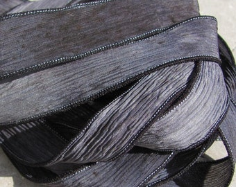 STONE Silk Ribbons, Gray and Black Crinkle Silk Ribbon, Hand Dyed Handmade, Qty 5 to 25 Bulk Ribbons, Jewelry Making Stringing Supplies