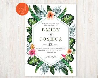 Tropical Wedding Invitation | Destination Wedding | Printable Design | diy Wedding | | Elopement wedding stationary