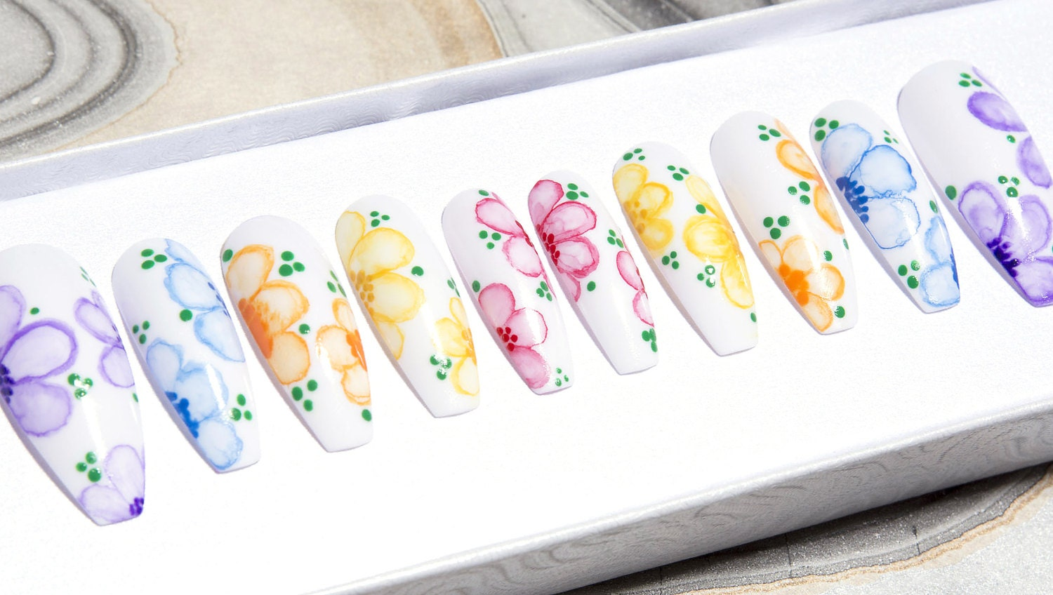 Watercolor Flower Press On Nails | Fake Nails | Coffin Nails | Any ...
