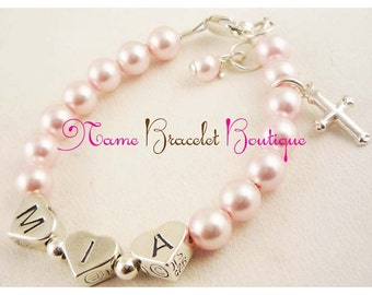 Christening Baptism or Communion bracelet for girls with sterling silver cross and Swarovski pearls - large selection of colors and sizes
