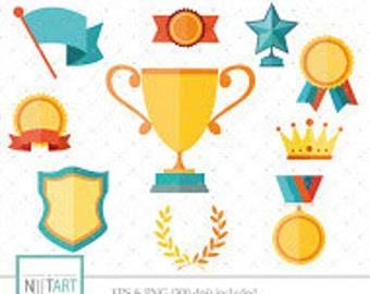 Medal clipart , vector graphics, Trophy clipart, Winner's badge and banner clip art, digital clip art, digital images - CL 101