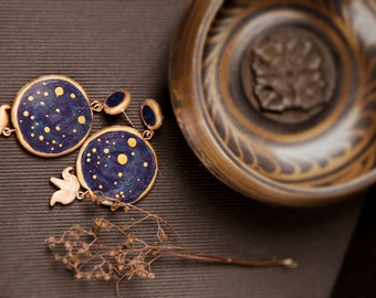 Navy Blue And Gold Dangling Earrings With Starry Night And Royal Crown, blue earrings, book lover gift, gift for her