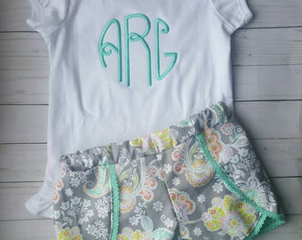 Monogram  outfit- girls outfit - toddler outfit - monogrammed shirt - girls boutique outfit- girls personalized shirt