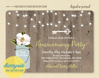 Rustic Housewarming Invitation with Mason Jar, Barnwood & Lights - House Warming Party Printable Invite, Home Sweet Home, New Home