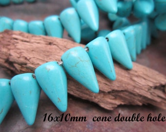 Turquoise Spike Double Hole Beads