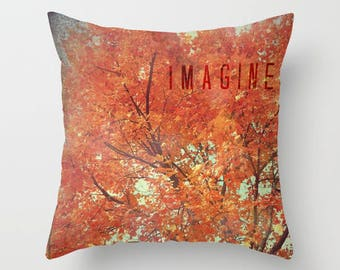 Throw Pillow Case, Fall, Autumn Tree Branches, Changing Seasons, Red Orange Leaves, Home Decor, Photography by RDelean Designs