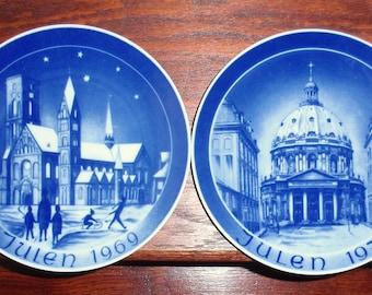 2 GERMAN PORCELAIN BACO Plates 7 3/4  Blue White Pierced Back Church Scenes Christmas Julen 1969 1970 Set Two Pair Excellent Condition & 1969 christmas plate | Etsy