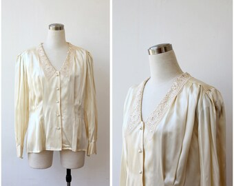 Cream Silk Blouse Silk Satin Laced Blouse Button front Long Sleeve Evening Blouse Silk Lace Collar Button Up Long Sleeve Blouse M L
