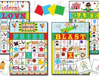 Circus Carnival Bingo 40 printable cards INSTANT DOWNLOAD